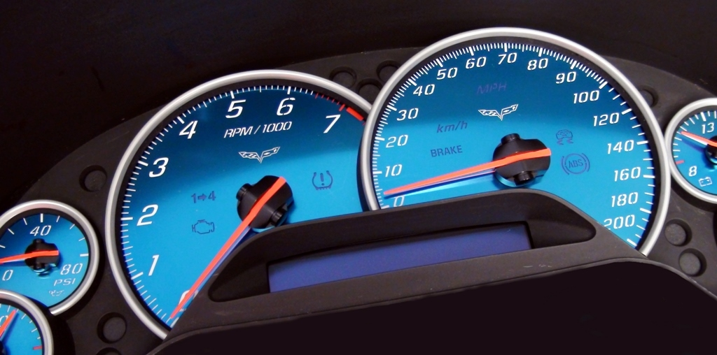 AQUA, 05-13 Corvette C6, 200 mph, NON-Z06 - DASHBOARD INSTRUMENT CLUSTER