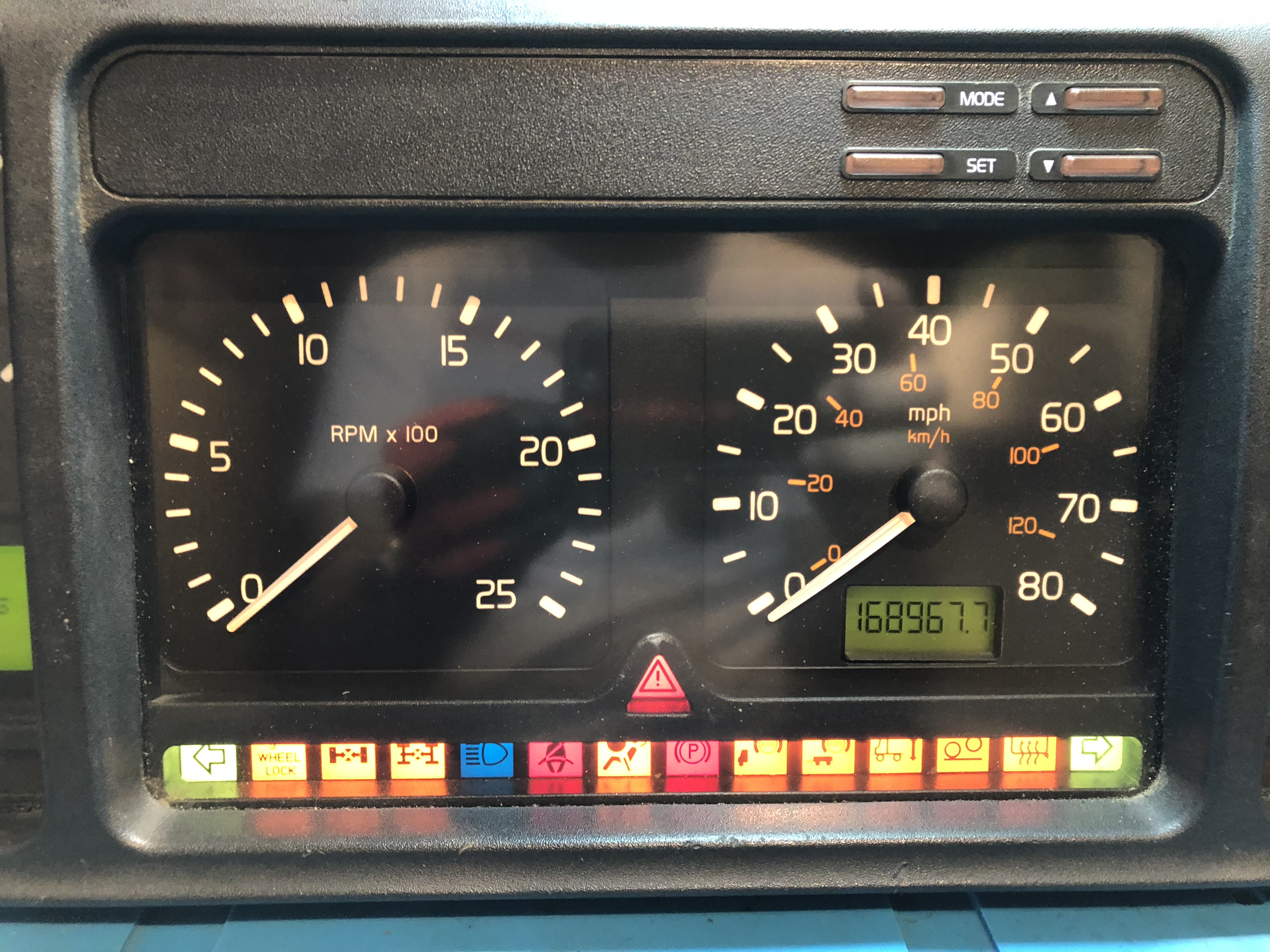 1998-1999 VOLVO VNL USED DASHBOARD INSTRUMENT CLUSTER FOR SALE (MPH)
