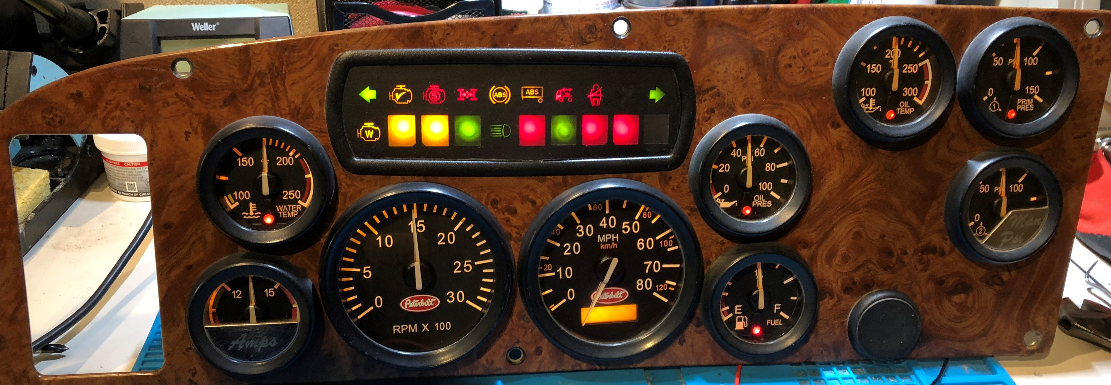 2000 PETERBILT 387 USED DASHBOARD INSTRUMENT CLUSTER FOR SALE (MPH)